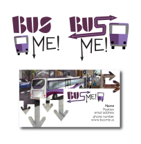 Branding, logos and business card for BusMe, the mobile app