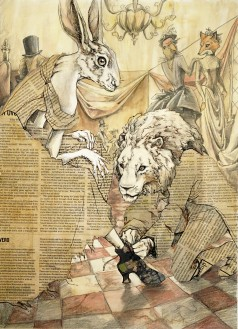 Cinderella Part II: Storybook illustration for an anthropomorphic Cinderella. Mixed media; Watercolor, newspaper, colored pencil.