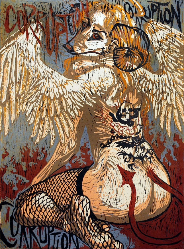 Corruption: 6 color relief woodcut print