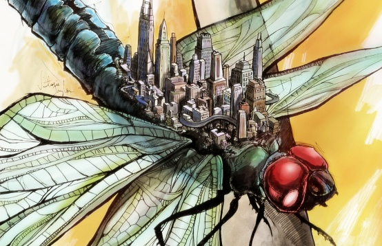 Dragonfly City: Hand drawn pen and ink, then digitally colored