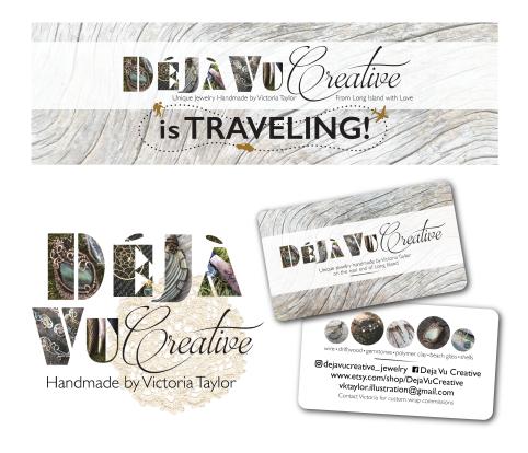 Logo, branding, business card and signage for my handmade jewelry business, Deja Vu Creative