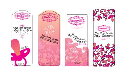 Mock baby shampoo labels for Grandma Els brand