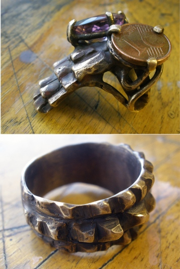 Bronze rings-Handmade rings of bronze, cut amethyst and a 1 cent euro coin