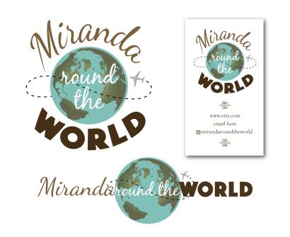 Logo design, branding and business card for Miranda Round the World handmade jewelry business