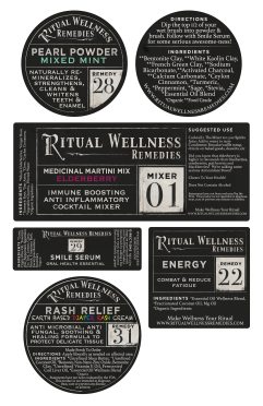 Ritual Wellness Remedies product labels, sampling of over 30 different products