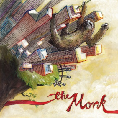 The Monk album cover: Mixed media; watercolor, newspaper, colored pencil