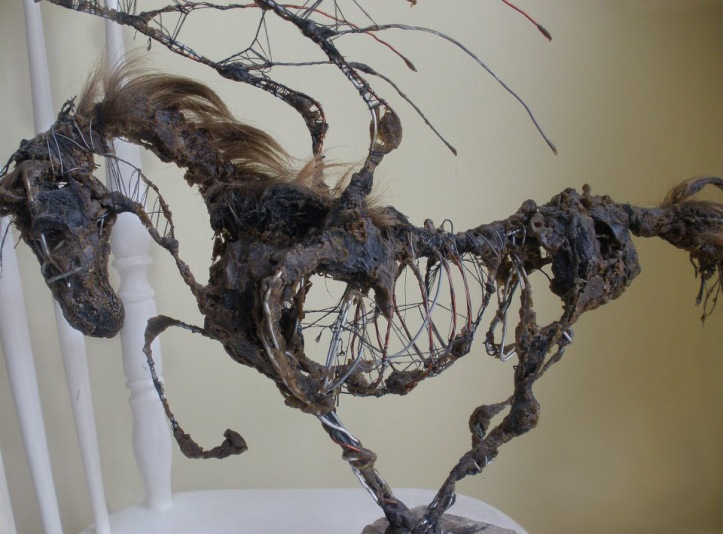 Winged Horse of the Apocalypse: Sculpture made from wire, wax, string, and bits of my own hair.