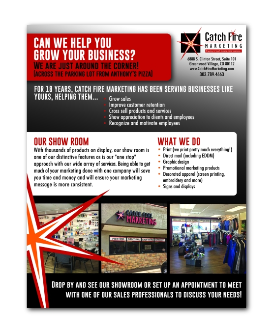 Retail advertisement flyer for Catch Fire Marketing highlighting the show room